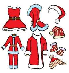 doodle costumes Santa Claus vector image