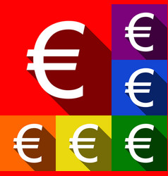 Euro sign set of icons with flat shadows vector