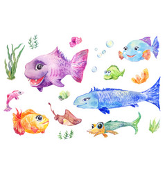 Fish set watercolor vector