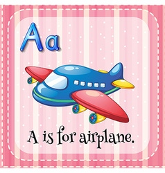 Flashcard alphabet a is for airplane vector