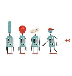 four baloon head robots vector image