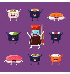 Fun sushi and sashimi Japanese Food with cute vector image