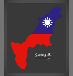 gaoxiong shi taiwan map with taiwanese national vector image vector image
