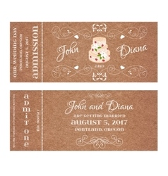 Grunge Ticket for Wedding Invitation with vector image