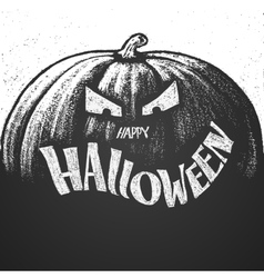 Happy Halloween chalk lettering with pumpkin vector image vector image