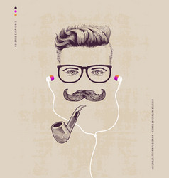 hipster with pipe vector image vector image