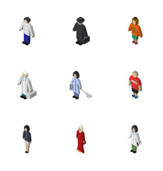 isometric person set of male female girl and vector image vector image