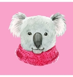 Koala in a pink scarf vector image vector image