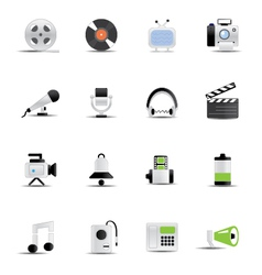 Media icons 6 vector image