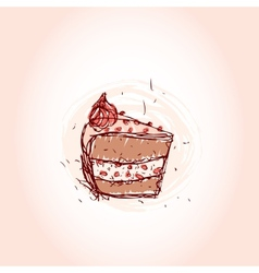 piece of chocolate cake Hand drawn sketch on pink vector image vector image