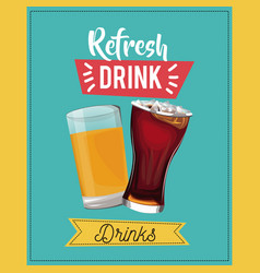 Refresh drinks beer glass soda cold vector