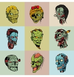 Set of nine drawn image with the zombie vector image vector image