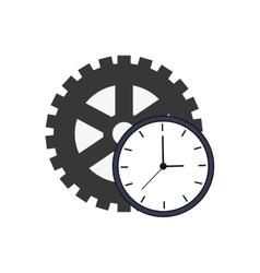 Single gear and clock icon vector