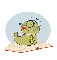 Smart Old Worm Wearing A Tie And Glasses vector image vector image