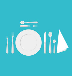 Table etiquette cutlery forks spoons and knives vector