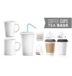 Take-out various ocher paper cups tea bags mock vector
