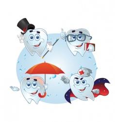teeth cartoon characters vector image