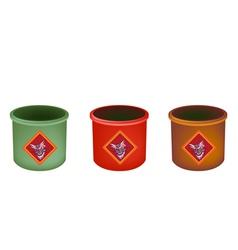 Three brass joss stick pots on white background vector