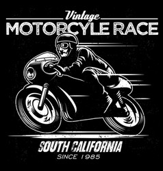 vintage motorcycle race vector image vector image