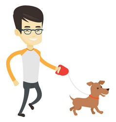 Young man walking with his dog vector