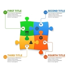 Jigsaw puzzle pieces infographic business vector
