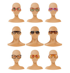 Mannequins heads display sunglasses realistic set vector