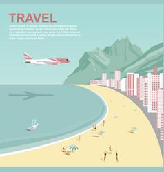 Airplane flying over copacabana beach in rio vector