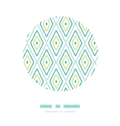 Green ikat diamonds frame circle decor patterns vector