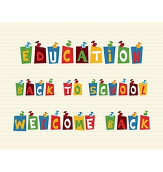 Education colorful pushpin post notes composition vector