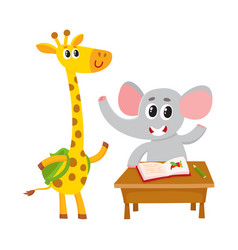 Cute animal students - elephant at school desk vector