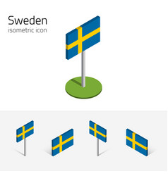 Sweden flag set of 3d isometric icons vector