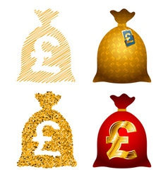 Variations currency sack pound gbp vector