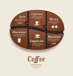 Infographic template with coffee bean jigsaw vector