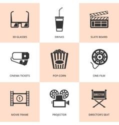 Set of black cinema icons vector