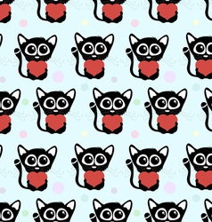 Seamless pattern cute cats with hearts vector