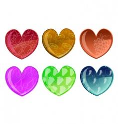 hearts with fruit patterns vector image