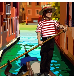 Cartoon man gondolier on the boat floating vector