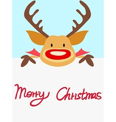 Red nosed reindeer christmas card with handwritten vector