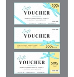 Gift voucher template with blue silk ribbon and a vector