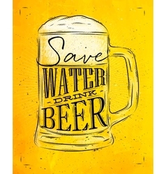 Poster drink beer yellow vector