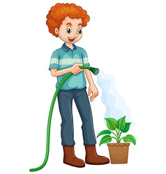 Man watering the plant vector image
