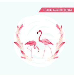 Tropical graphic design flamingo birds vector