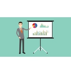 Businessman presentation with board graph and vector