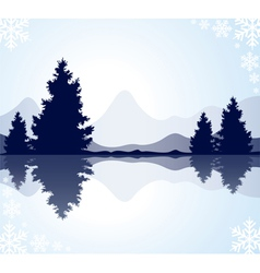 fur-trees with reflection in frozen water and moun vector image