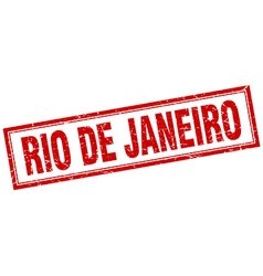 Rio de janeiro red square grunge stamp on white vector