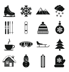 Winter icons set simple style vector