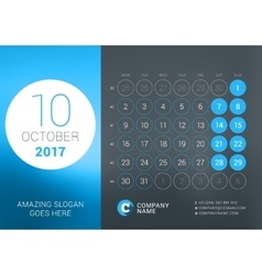 Calendar template for october 2017 design vector