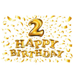 balloon number 2 two realistic 3d isolated gold vector image vector image