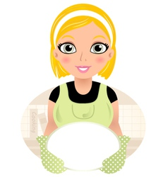 Beautiful cooking girl holding plate vector image
