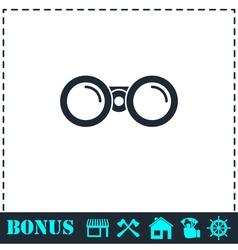 Binoculars icon flat vector